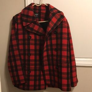 Kate spade-Saturday line coat. Red and black plaid